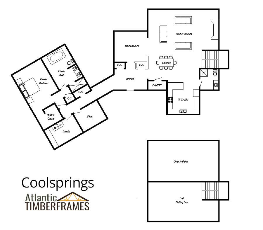 Coolsprings custom timber frame floor plan