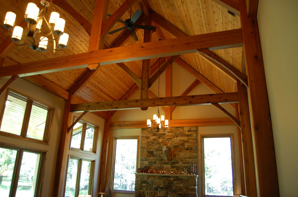 Timber Frame Home with Stone Fireplace