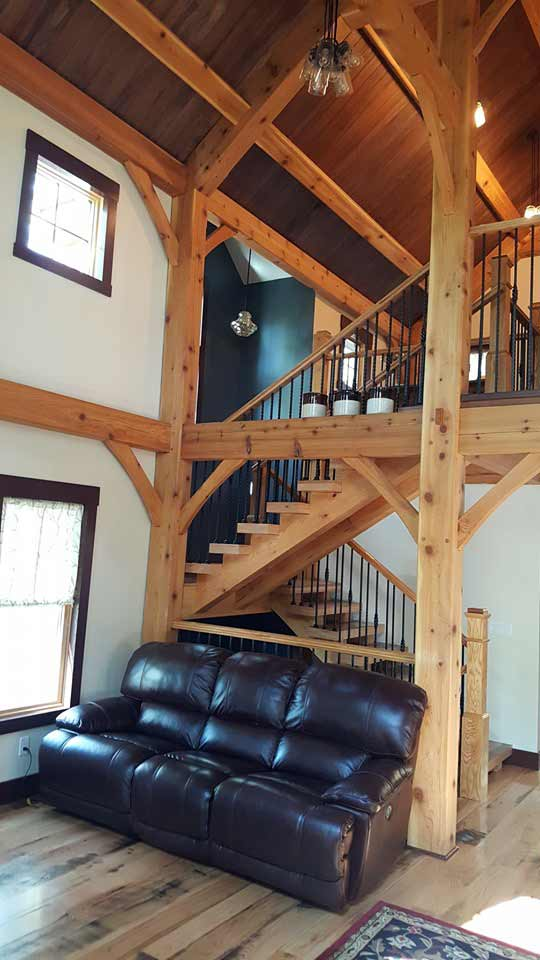 Mt Jackson timber frame floor plan finished staircase to second floor loft