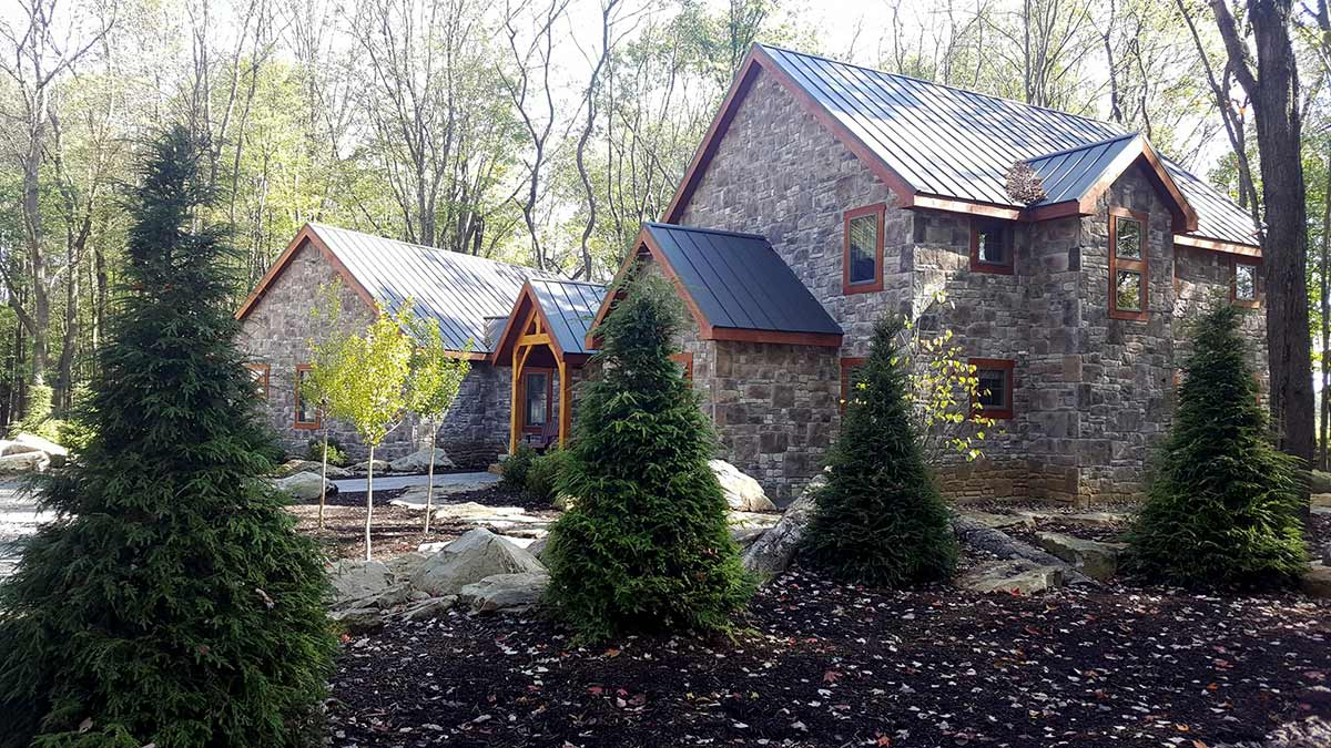 mt jackson timberframe home side view finished